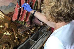 Trabajos de restauración en la Parroquia de La Magdalena, de Sevilla