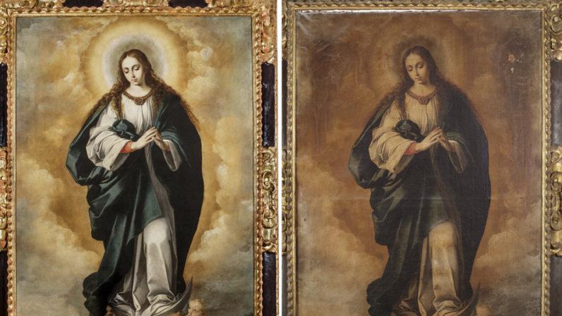 Concluye la restauración de dos lienzos de la Parroquia de San Vicente