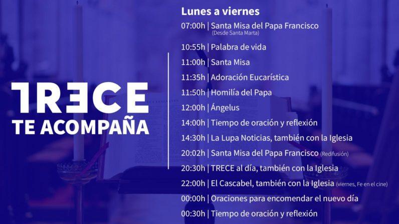 TRECE TV redobla su programación religiosa para acompañar a los fieles en sus casas
