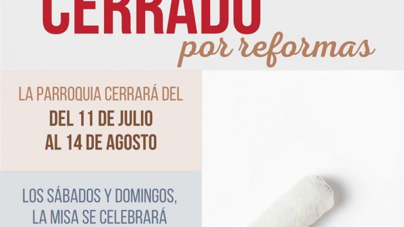 La Parroquia de S. Ildefonso de Mairena del Aljarafe cierra por reformas del 11 de julio al 14 de agosto